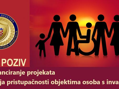 Javni poziv za sufinanciranje projekata rješavanja pristupačnosti objektima osoba s invaliditetom