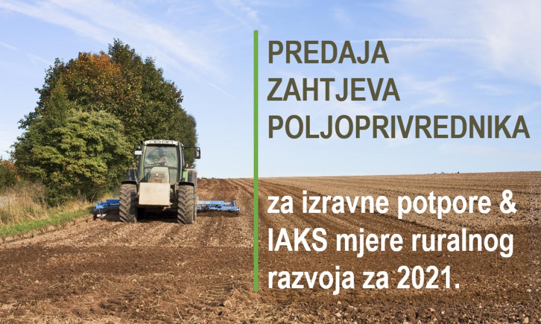 Započelo podnošenje Jedinstvenog zahtjeva za izravne potpore i IAKS mjere ruralnog razvoja za 2021. godinu.