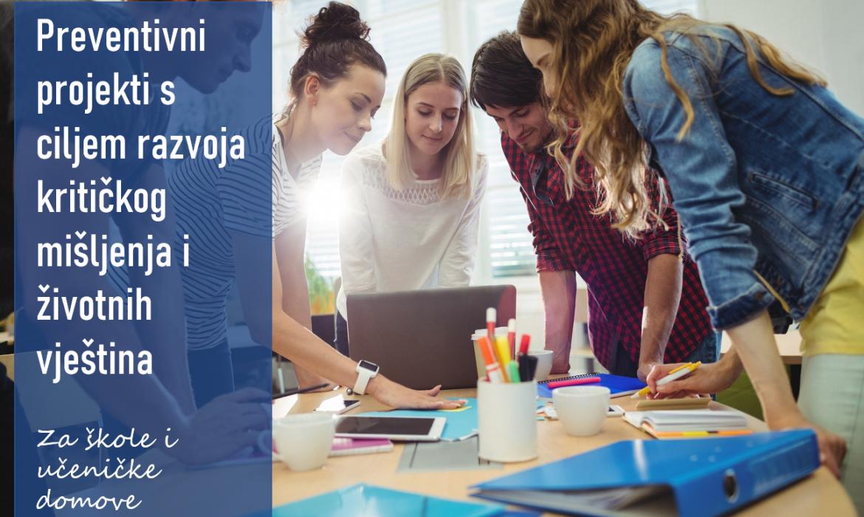 Financiranje preventivnih projekata osnovnih i srednjih škola te učeničkih domova u školskoj godini 2021./2022.