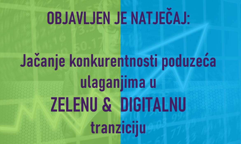 """Objavljen je natječaj """"Jačanje konkurentnosti poduzeća ulaganjima u digitalnu i zelenu tranziciju"""